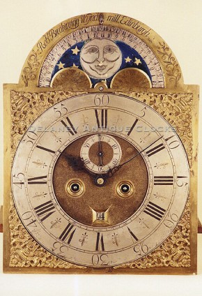 Robert Breakinrigg of Wyndmill, Edinburgh.  A scottish tall clock dial.  Brass and moon phase.