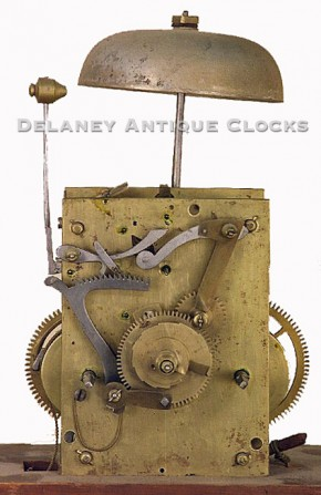 An eight day tall clock movement of American origin.